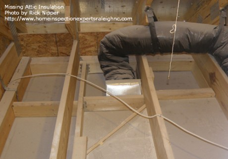 Builder Warranty Inspection - Misssing Attic Insulation