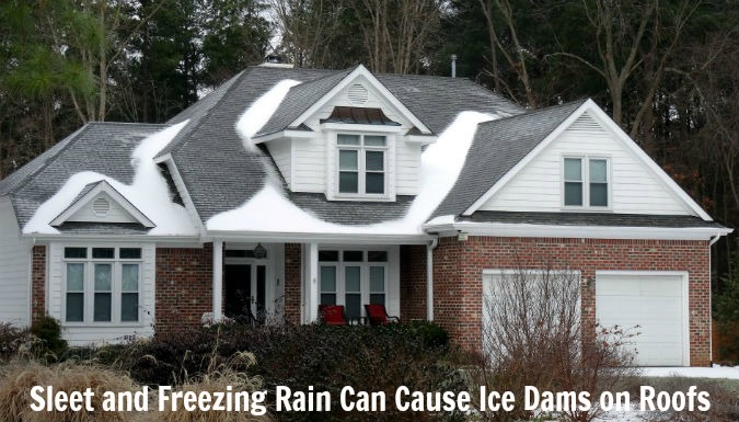 Sleet and Freezing Rain can Cause Ice Dams on Roofs by Rick Nipper near Raleigh, NC